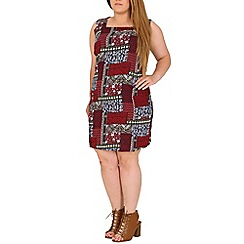 Samya - Maroon plus size multi patterned shift dress