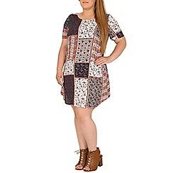 Samya - Navy plus size mixed pattern shift dress