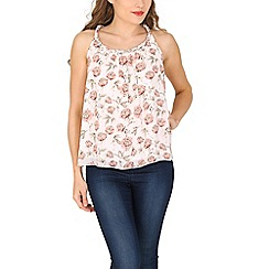 Tenki - Cream flower print beaded neck top
