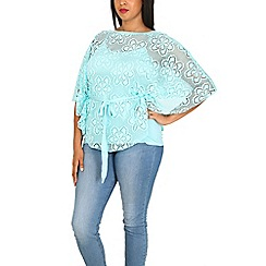 Samya - Light blue floral crochet overlay top