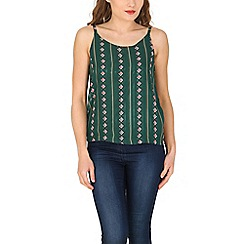Tenki - Green diamond print strappy cami top