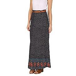 Izabel London - Blue belted patterned skirt