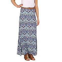 Izabel London - Blue paisley print belted maxi skirt