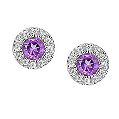 Amore Argento - Purple sterling silver cluster earrings