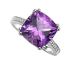 Amore Argento - Purple cushion shape ring