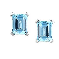 Amore Argento - Blue cut shape earrings