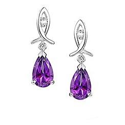 Amore Argento - Purple rain drop earrings