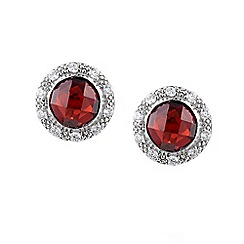 Amore Argento - Dark red round garnet cluster earrings