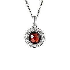 Amore Argento - Dark red round garnet cluster necklace