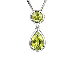 Amore Argento - Green tear drop peridot necklace