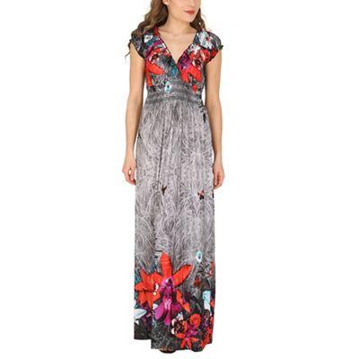 Izabel London Grey floral urban maxi dress