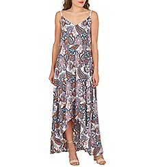 Mela - Multicoloured paisley maxi high-low dress