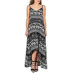 Mela - Black daisy aztec maxi high-low dress