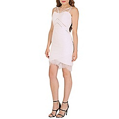 Oeuvre - White textured lace trim mini dress