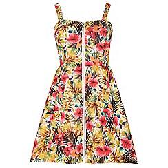 Stella Morgan - Multicoloured zip front tropical print skater dress