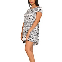 Samya - Black elephant print shift dress