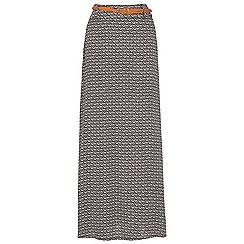 Izabel London - Grey long print with belt maxi  skirt