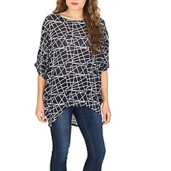 Voulez Vous - Navy abstract oversized top