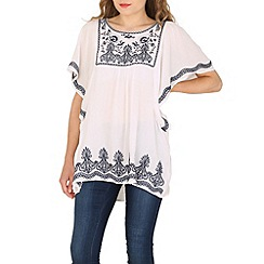 Voulez Vous - White embroidery batwing top