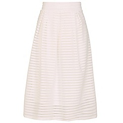 Blue Vanilla - Cream mesh overlay pleat a line skirt