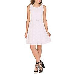Mela - White lace belted skater dress