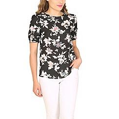 Cutie - Black floral black top