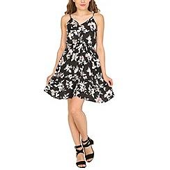 Cutie - Black floral sweetheart dress