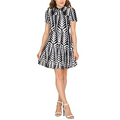 Cutie - Navy zig zag collared dress