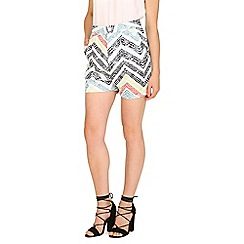 Cutie - Green zig zag tailored shorts