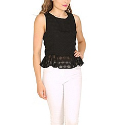 Cutie - Black textured peplum top