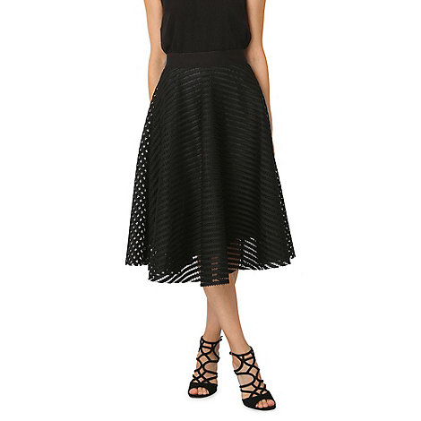 Izabel London Black mesh stripe midi skirt | Debenhams
