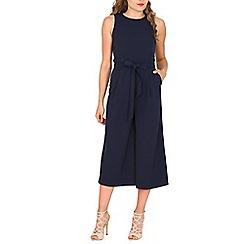 Izabel London - Navy belted culotte jumpsuit