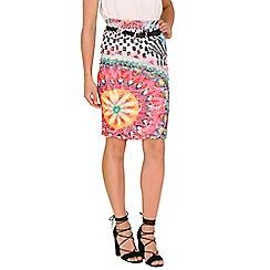 Izabel London - Multicoloured printed lace pencil skirt