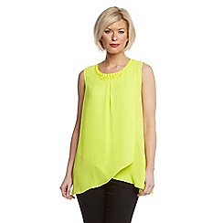 Roman Originals - Lime crossover beaded neck vest