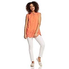 Roman Originals - Peach lace detail blouse