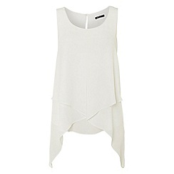 Roman Originals - Cream asymetric hem top