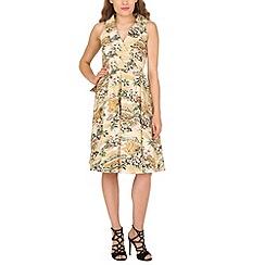 Jolie Moi - Cream Retro Shawl Collar Dress