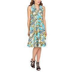 Jolie Moi - Blue retro shawl collar dress