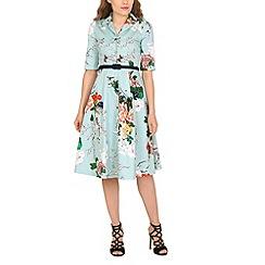 Jolie Moi - Aqua floral print belted shirt dress