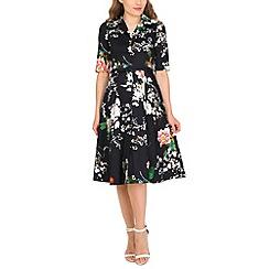 Jolie Moi - Navy floral print belted shirt dress