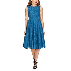 Jolie Moi - Dark turquoise lace bonded fit & flare dress