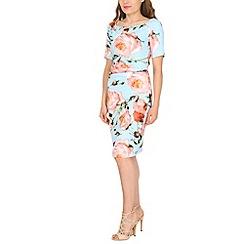Jolie Moi - Blue half sleeve 40s ruched dress