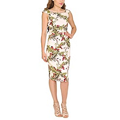 Jolie Moi - Cream floral print ruched dress
