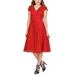 Jolie Moi - Dark red cap sleeve scalloped lace dress