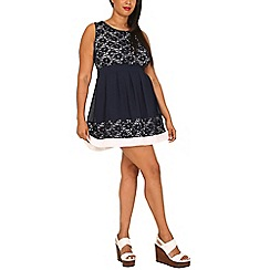 Samya - Navy lace print skater dress