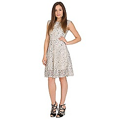 Amaya - Ivory lace effect dress with belt