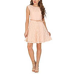 Amaya - Light pink belted lace dress