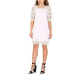 Amaya - Ivory laser cut shift dress