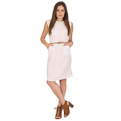 Amaya - White belted dress with braid detailing