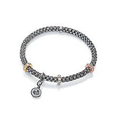 Bouton - Dark grey jewelled mesh bracelet